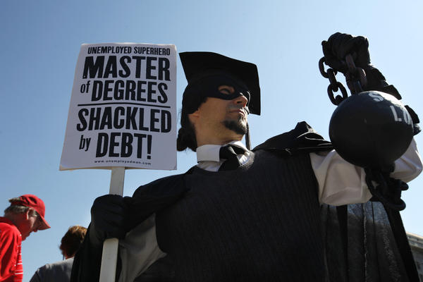 "Gan Golan, of Los Angeles, dressed as the ""Master of Degrees during Occupy DC activities in Washington last year."