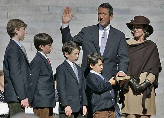 Mark Sanford, with his wife, Jenny, and their four sons, takes the oath of office in January 2007 after his reelection as South Carolina governor. Their divorce  followed his admission in 2009 of an affair with an Argentine woman.
