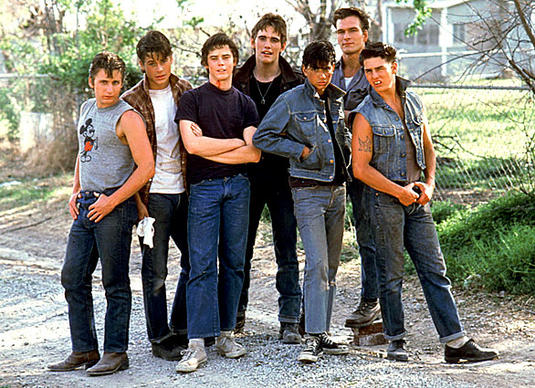 "Patrick Swayze is shown with other cast members of the 1983 Warner Bros. film ""The Outsiders,"" directed by Francis Ford Coppola. From left are Emilio Estevez, Rob Lowe, C. Thomas Howell, Matt Dillon, Ralph Macchio, Swayze and Tom Cruise."