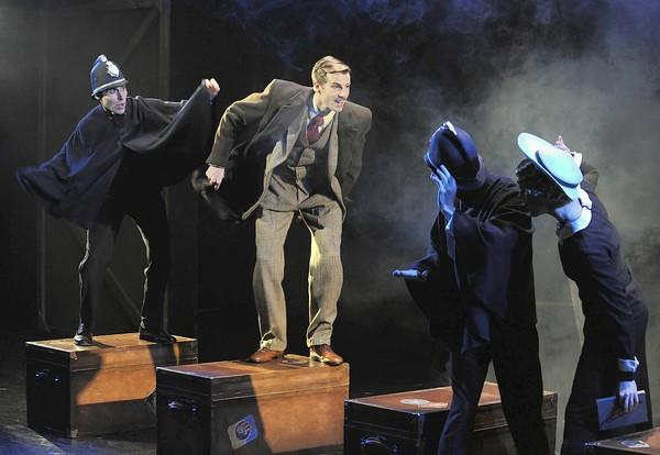 "From left, Nicholas Wilder, Dan Fenaughty, Tobias Shaw and Larissa Klinger in ""The 39 Steps."""