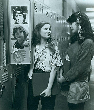 Most of the styles worn by Ridgemont High's resident relationship expert (Cates, here with Jennifer Jason Leigh) are popping up on the runway and in street fashion. Baggy sweaters? Check. Leggings under shorts? Done.  But no red bikini sightings quite yet.<br> <br> <b>More in Image:</b><br>