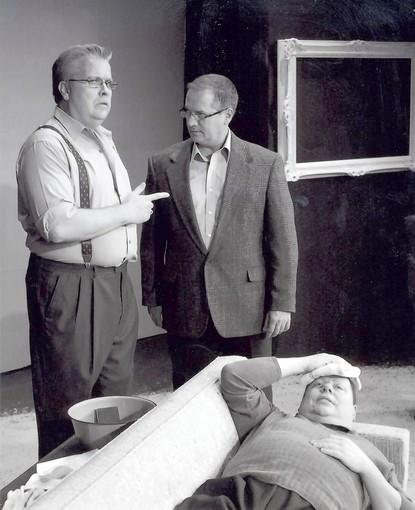 "Cast members perform a scene in ""Art"" at Newport Theatre Arts Center."