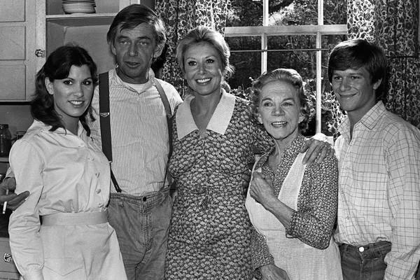 "The cast of ""The Waltons,"" including Judy Norton Taylor, left, Ralph Waite, Michael Learned, Ellen Corby, and Eric Scott."