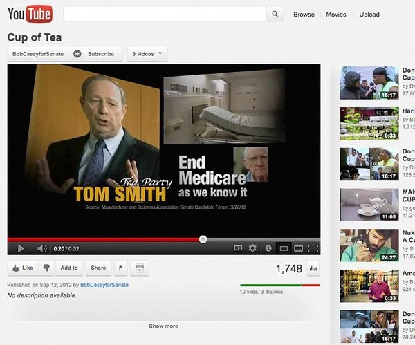 Screen grab from Bob Casey's 'Cup Of Tea' advertisement on YouTube.