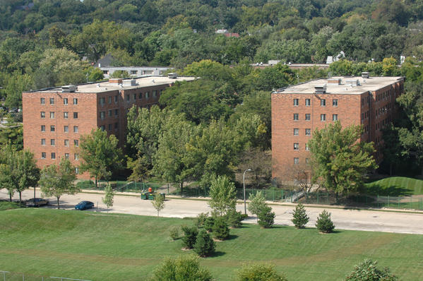 The Evergreen Terrace complex seen from across the Des Plaines River in Joliet in September 2009.