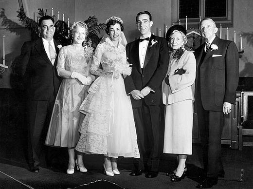 The 1954 wedding of Sgt. Jerry Wooters and the former Jean Jettie, a stewardess for Trans World Airlines.
