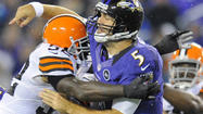 The Ravens' offensive line experienced a rough night, a bout of regression that often left quarterback <strong>Joe </strong><strong>Flacco </strong>lying on the ground.