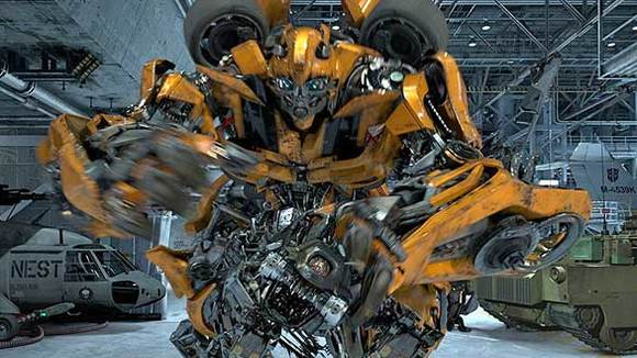Concept art for the new Transformers ride at Universal Studios Hollywood shows Bumblebee in action surroun