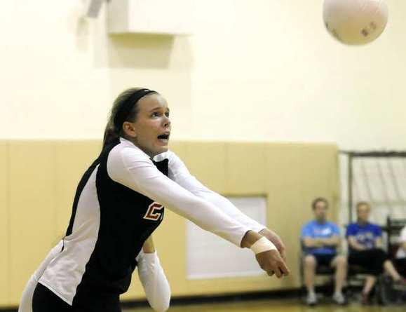 Flintridge Sacred Heart Academy's Katie Conley returns a ball in a match against Alemany.