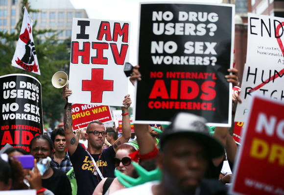 AIDS activists from organizations all around the world participated in the march to 'demand rights and resources to confront and cure HIV/AIDS.'