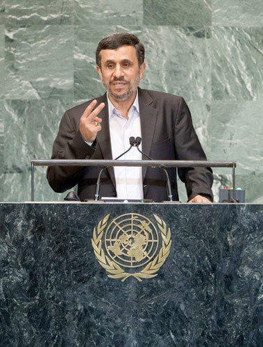 Iranian President Mahmoud Ahmadinejad gives a speech at the 67th meeting of the General Assembly at the United Nations in New York.