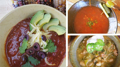 Toski Sands market created the Crabby Mary Chili, upper right, for the 2012 Harbor Springs Area Chili Cook-off. It is inspired by the flavors of the Bloody Mary cocktail. Chili can be topped with a variety of items, including cheese, avocado, olives and cilantro, as seen in the photo on the left. The Chili Verde by Toski Sands Market, lower right, took top honors at the 2008 Harbor Springs Area Chili Cook-off.