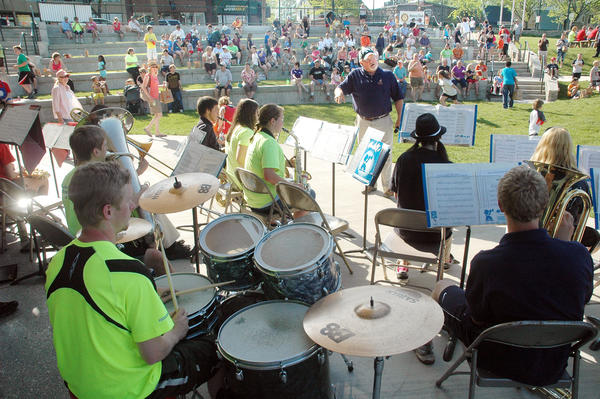 Stutzman conducts at the Odmark Park Pavilian in Charlevoix.