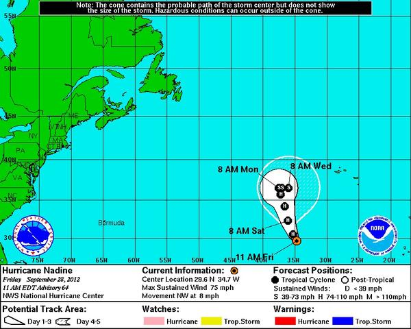 Hurricane Nadine, already more than two weeks old, regained hurricane strength Friday.