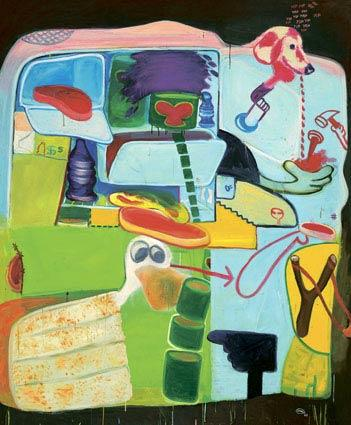 "In 1963, Saul started a series of paintings of refrigerators with the door ajar. ""Icebox Number 7"" includes steak, cake and ham as well as a cross-eyed Disney duck, cigarettes, money and signage — the accouterments of daily life, put on ice."