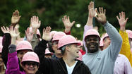 Pictures: Human Pink Ribbon For Breast Cancer Awareness