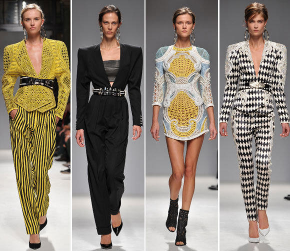 Looks from the Balmain spring-summer 2013 runway collection shown during Paris Fashion Week.