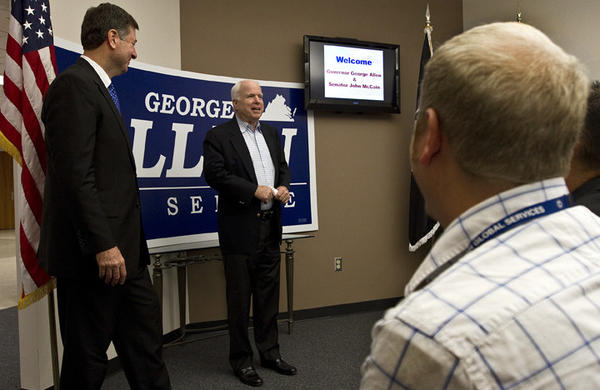 U.S. Sen. candidate George Allen and U.S. Sen. John McCain held this sequestration Q & A meeting at Bosh Global Services in Newport News.