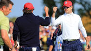 Jason Dufner and Zach Johnson owned the back nine and rallied to thump Francesco Molinari and Lee Westwood  3 & 2 in Morning Foursomes.