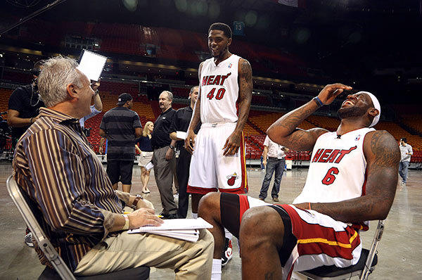 Udonis Haslem interrupts an interview Lebron James is having with channel 7 during media day Miami Heat media day.
