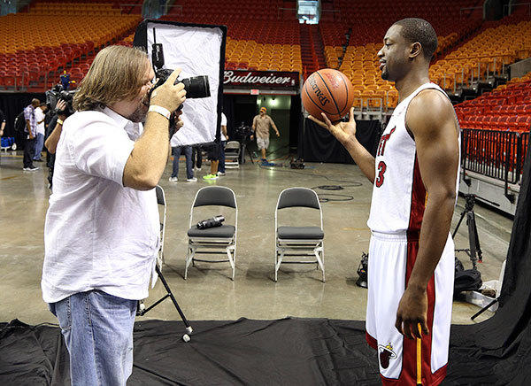 Dwyane Wade is photographed by Jim Rassol with the Sun-Sentinel during the Miami Heat media day.