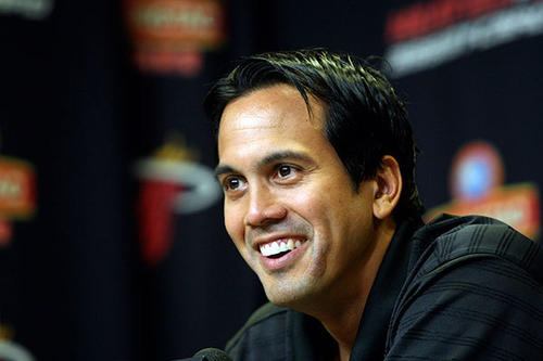 Coach Eric Spoelstra laughs during an interview during the Miami Heat media day.