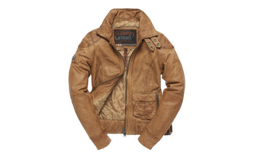 "The Superdry Warbid jacket features quilted stitching on the shoulders, a distressed finish and double popper collar for an update on the classic motorcycle style. Available at <a href=""http://www.superdry.com"">Superdry.com, $500.</a>"