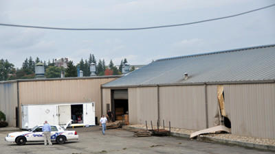 Scene of investigation of accident at Leiss Tool & Die on Thursday.