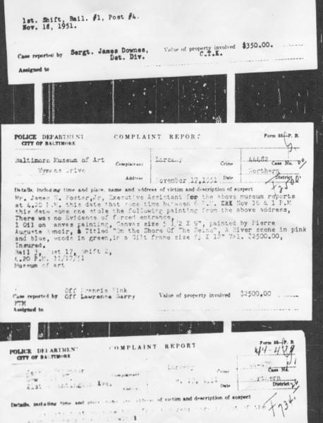 "A police report (middle) from 1951 details the theft of a landscape by Renoir from the <a class=""taxInlineTagLink"" id=""ORCUL000037"" title=""Baltimore Museum of Art"" href=""/topic/arts-culture/arts/baltimore-museum-of-art-ORCUL000037.topic"">Baltimore Museum of Art</a>."