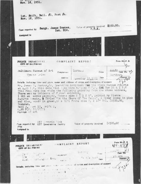 A police report (middle) from 1951 details the theft of a landscape by Renoir from the Baltimore Museum of Art.