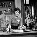 Julia Child at home in front of the cameras
