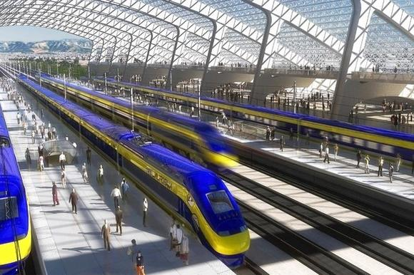 An artist's rendering of a high-speed-rail station.