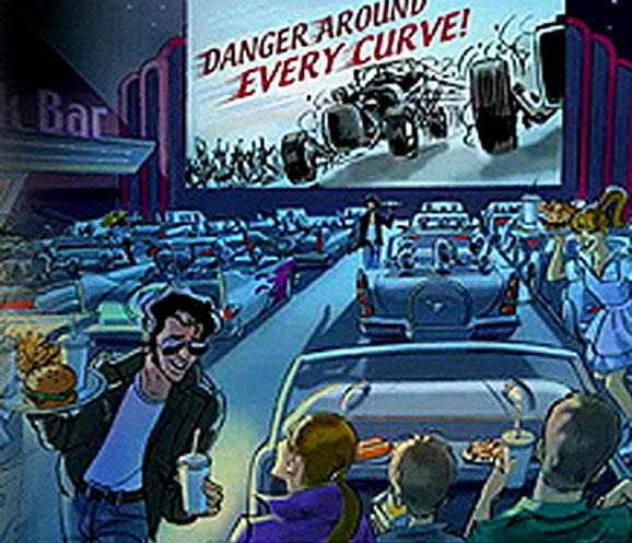 Concept art for the Cars Land drive-in theater restaurant at Disney California Adventure.