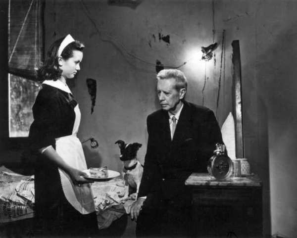 "Maria Pia Casilio as Maria, Napoleone as Flike, Umberto's dog and Carlo Battisti as Umberto Domenico Ferrari, in the Italian neorealism classic, ""Umberto D."""