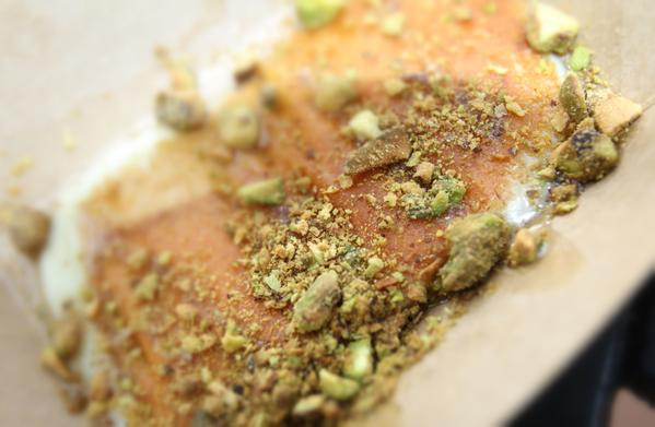 "GREECE Menu item: griddled Greek cheese with pistachios and honey......................  First impressions from Sentinel Food Editor Heather McPherson and Theme Parks Reporter Dewayne Bevil:..................... ""Fried cheese with pistachios with syrupy topping could be an appetizer or dessert."""