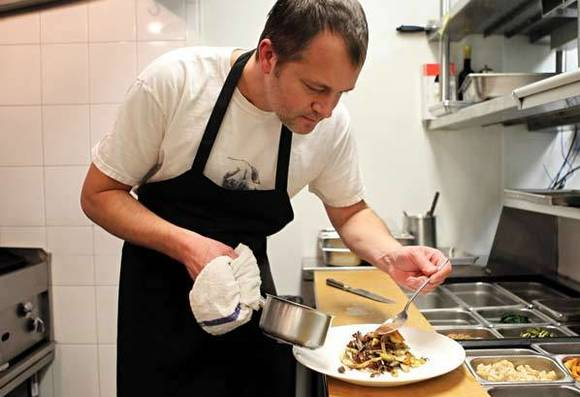 Paul Virant in the kitchen at Perennial Virant