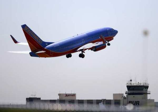 A Southwest Airlines plane takes off from the Bob Hope Airport.