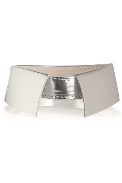 "Add dramatic flair to any tee or scoop-neck dress with the detachable 3.1 Phillip Lim pointed metallic-leather collar. Available at <a href=""http://www.net-a-porter.com"">Net-a-port"