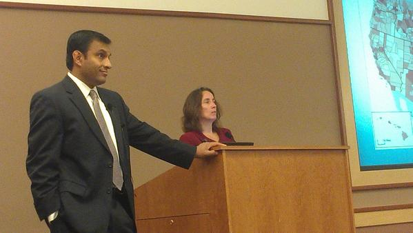 Dr. Mitesh Kothari, left, and Jeanne Singer, co-chairs of the Greater Hagerstown Committee Education Forum, gave a presentation Friday on college and career readiness and a proposal to provide tuition assistance to every graduating Washington County high school senior.
