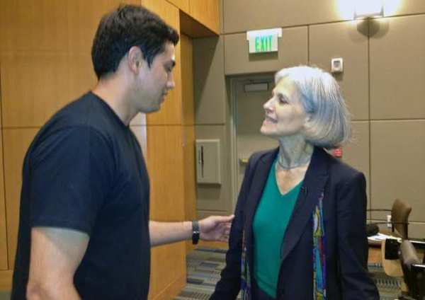 Woodbury University student Jonathan Ortega talks with Green Party presidential candidate Dr. Jill Stein after her talk at the school.