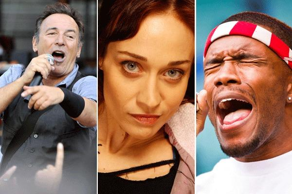 Bruce Springsteen (Viena Kytojoki Lehtikuva / Associated Press); Fiona Apple (Genari Molina / Los Angeles Times); and Frank Ocean (Vegard Grott / Getty Images)