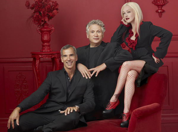 "The ""Kinky Boots"" creative team: director Jerry Mitchell, writers Harvey Fierstein and Cyndi Lauper."