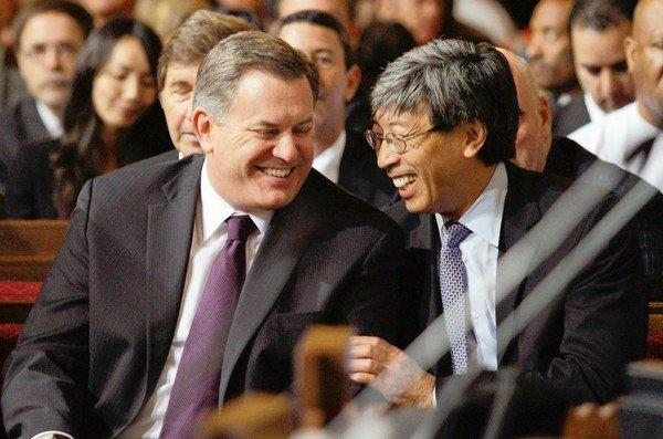"AEG chief Tim Leiweke, left, with prospective buyer Dr. Patrick Soon-Shiong. Leiweke apologized for the ""dysfunction"" caused by the sale announcement."