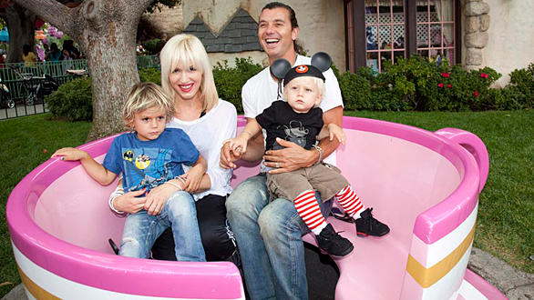 No Doubt singer Gwen Stefani and rocker-husband Gavin Rossdale of Bush with their children aboard a Mad Tea Party tea cup at Disneyland.