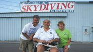 J.R. Sides and his wife, Kathy Sides, co-owners of the Skydiving Center in Chambersburg, helped kick off the Mobility for Randy fundraiser for  Randy Schroeder.
