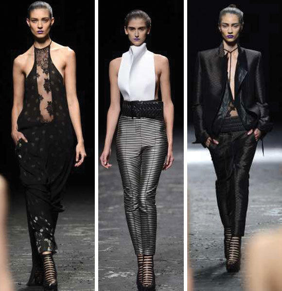 Looks from the Haider Ackermann spring-summer 2013 collection shown during Paris Fashion Week.
