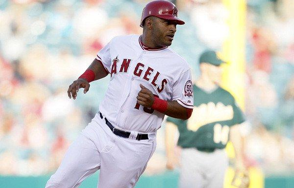 Angels outfielder Vernon Wells rounds second base during a game against the A's earlier this seaosn.