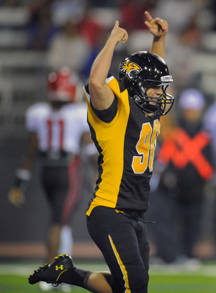 Towson Tigers kicker D.J. Soven celebrates his two-point conversion against the St. Francis (PA) Red Flash in the second quarter at Johnny Unitas Stadium Saturday, Sep 22, 2012.