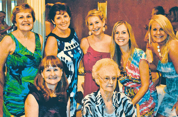 The women of the Reedy family gathered for the bridal shower of granddaughter Kristin Carpenter in August in Mount Airy, Md. Shown from left, front row, are daughter Debbie Carpenter and Pauline Reedy. In back, from left, are daughter Cindy Serbin, daughter-in-law Kathy Reedy and granddaughters Kelley Carpenter, Kristin Carpenter and Laura Reedy.