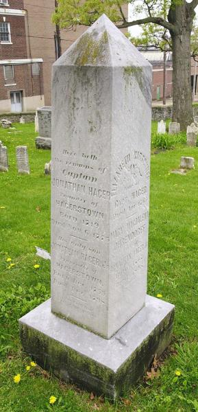 An obelisk marks the grave of Jonathan Hager, founder of Elizabeth Town (Hagerstown) who died in 1775, in the cemetery behind Zion Evangelical and Reformed Church. The Potomac Street churchyard is the final resting place of veterans of wars ranging from the French and Indian War to World War I.